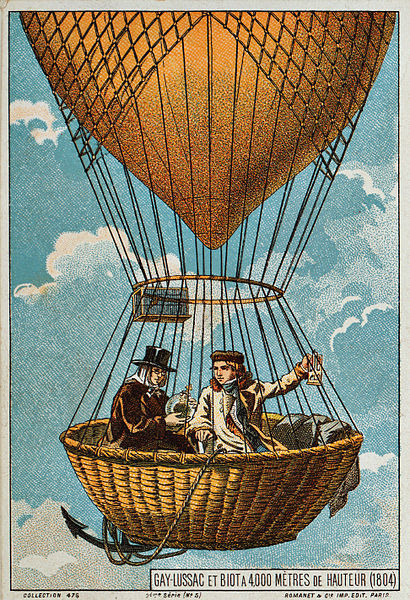Gay-Lussac and Biot in a hot air balloon